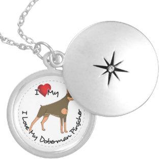 I Love My Doberman Pinscher Dog Silver Plated Necklace