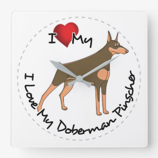 I Love My Doberman Pinscher Dog Square Wall Clock