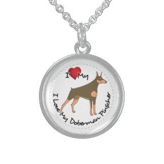 I Love My Doberman Pinscher Dog Sterling Silver Necklace
