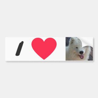 I LOVE My dog Bumper Sticker Samoyed