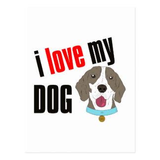 I Love My Dog Cartoon Postcard