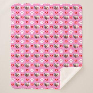 I Love My Dog Custom Photo Pattern Pink Sherpa Blanket