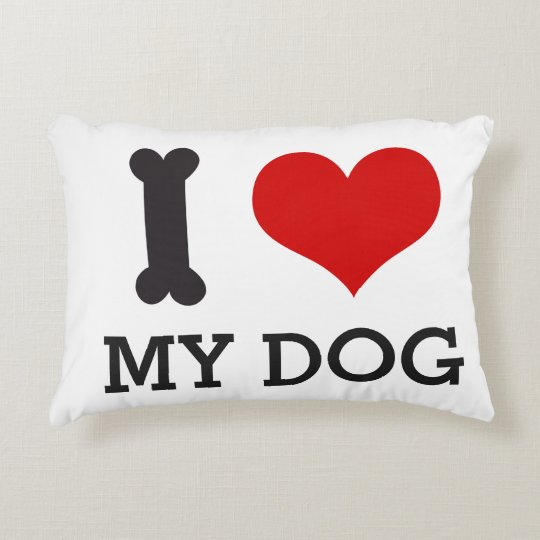 I Love My Dog / Doggie Bone Red Heart Design Accent Pillow
