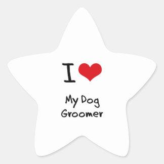 I Love My Dog Groomer Star Stickers