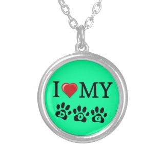 I Love My Dog Necklace Mint Green Background