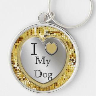 I Love My Dog Or ? Heart Keychain