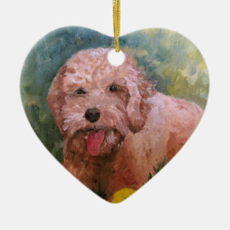 I love my dog Oranament Goldendoodle /Labradoodle. Ceramic Heart Ornament