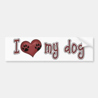 I Love My Dog - Paws Bumper Sticker