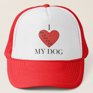 I Love My Dog Red Heart Baseball Cap