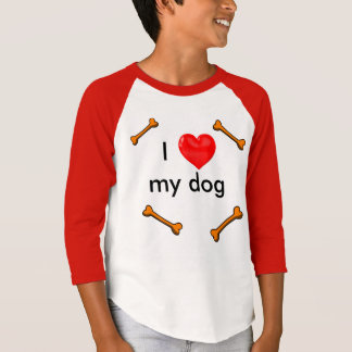 I LOVE MY DOG RED MID SLEEVE T SHIRT I HEART DOGS