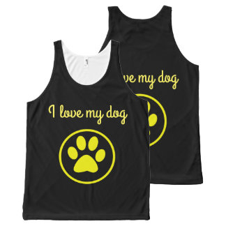 I love my dog yellow paw pet lover