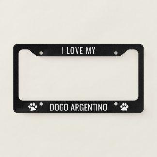 I Love My Dogo Argentino Custom Licence Plate Frame