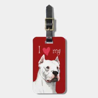 I Love my Dogo Argentino Luggage Tag