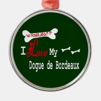 I Love My Dogue de Bordeaux Silver-Colored Round Ornament