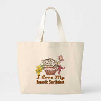 I Love My Domestic Shorthaired Large Tote Bag