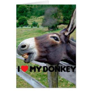 I Love My Donkey Funny Mule Farm Animal Note Card