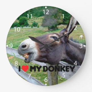 I Love My Donkey Funny Mule Farm Animal Clock