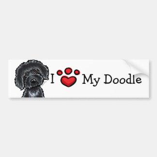 I Love My Doodle Black Labradoodle Bumper Sticker
