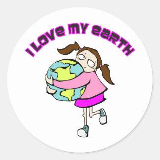 I Love My Earth Round Sticker