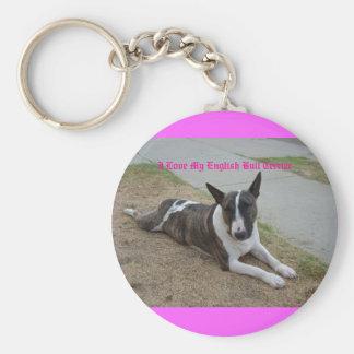 I Love My English Bull Terrier Keychain