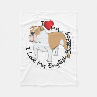 I Love My English Bulldog Dog Fleece Blanket