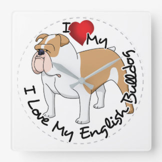 I Love My English Bulldog Dog Square Wall Clock