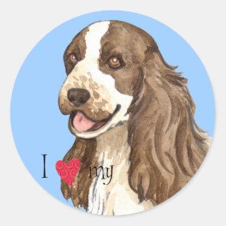 I Love my English Cocker Spaniel Round Sticker