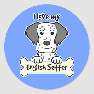 I Love My English Setter Classic Round Sticker