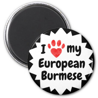 I Love My European Burmese Cat Magnet