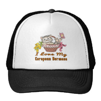 I Love My European Burmese Trucker Hat