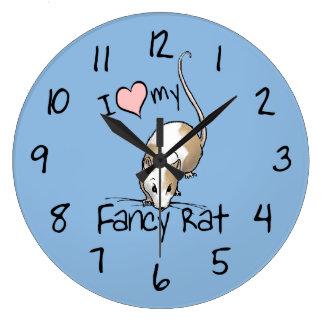 I Love My Fancy Rat Large Clock