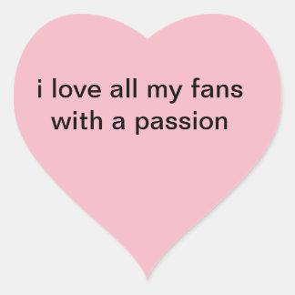 i love my fans heart sticker