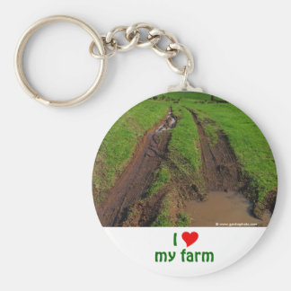 I Love My Farm Basic Round Button Keychain