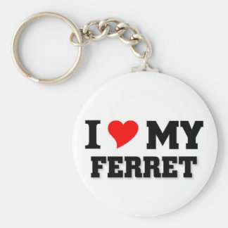 I love my Ferret Basic Round Button Keychain
