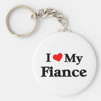 I love my Fiance Basic Round Button Keychain