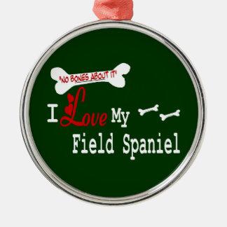I Love My Field Spaniel Silver-Colored Round Ornament