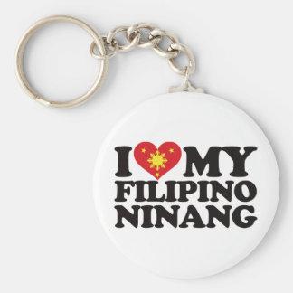 I Love My Filipino Ninang Basic Round Button Keychain