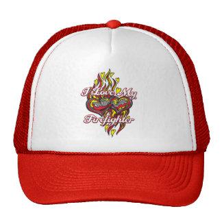 I Love My Firefighter Trucker Hats