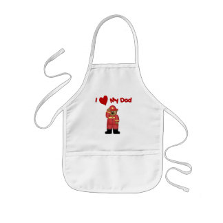 I Love My Fireman Dad Kids Apron