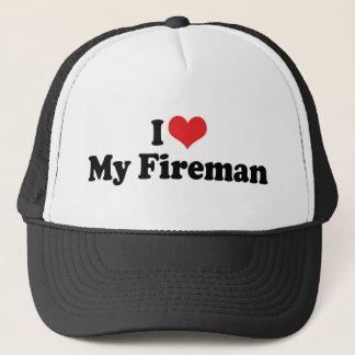 I Love My Fireman Trucker Hat