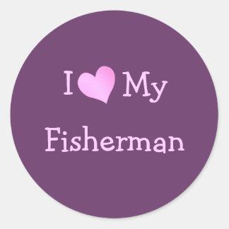 I Love My Fisherman Classic Round Sticker