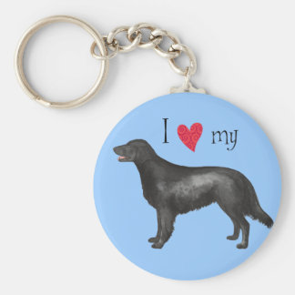 I Love my Flat-Coated Retriever Basic Round Button Keychain