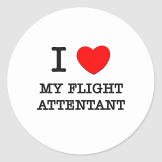 I Love My Flight Attentant Classic Round Sticker