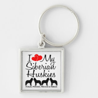 I Love My Four Siberian Huskies Custom Keychain