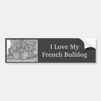 """I Love My French Bulldog"" Dog Bumpersticker Bumper Sticker"
