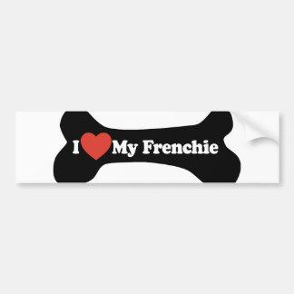 I Love My Frenchie - Dog Bone Bumper Sticker