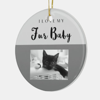 I Love My Fur Baby Custom with 2 Photo Slots Ceramic Ornament