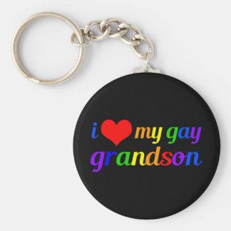 I Love My Gay Grandson Basic Round Button Keychain