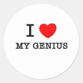 I Love My Genius Round Sticker