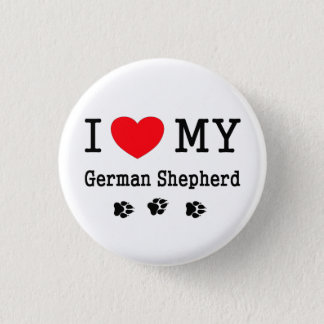 I Love My German Shepherd 1 Inch Round Button